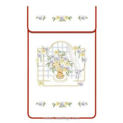 Cache torchon La corbeille à la fenêtre sur toile coton blanc à broder en broderie traditionnelle - Luc Création