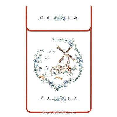 Cache torchon Le moulin sur toile coton blanc à broder en broderie traditionnelle - Luc Création