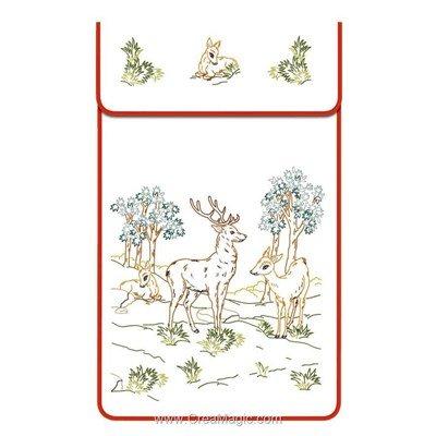 Cache torchon Les cerfs sur toile coton ecru à broder en broderie traditionnelle - Luc Création
