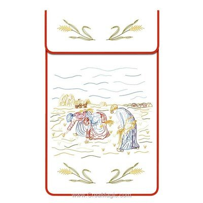 Cache torchon Les Glaneuses sur toile coton blanc à broder en broderie traditionnelle - Luc Création
