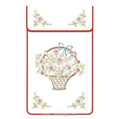 Cache torchon Panier de rose sur toile coton blanc à broder en broderie traditionnelle - Luc Création