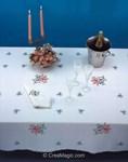 Nappe imprimée Fraicheur printainnière bordée de dentelle Dim 150x250 cm à broder en broderie traditionnelle - Luc Création