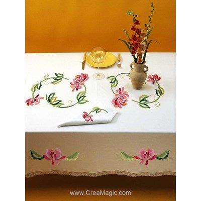 Serviette imprimée Harmonie bordée de dentelle Dim 50x50 cm à broder en broderie traditionnelle - Luc Création