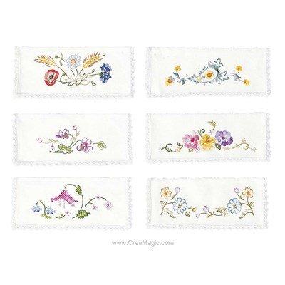 Assortiment de 6 pochettes serviette Fleurs printannières à broder en broderie traditionnelle - Avila