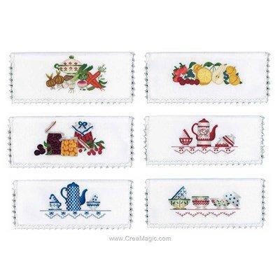Assortiment de 6 pochettes serviette La cuisine - Cécile Vessière à broder en broderie traditionnelle - Avila