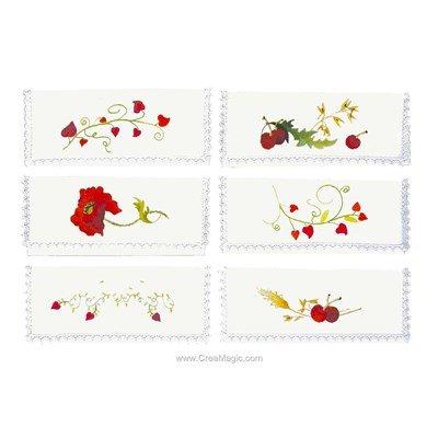 Assortiment de 6 pochettes serviette La vie en rouge à broder en broderie traditionnelle - Avila