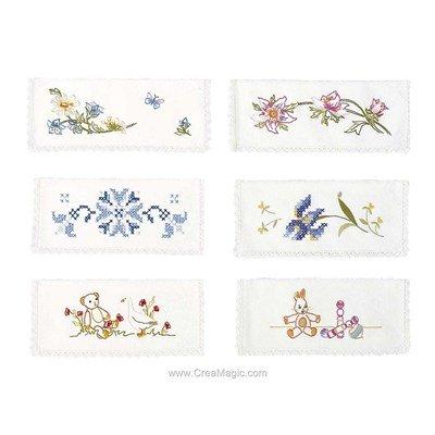 Assortiment de 6 pochettes serviette Le jardin à broder en broderie traditionnelle - Avila