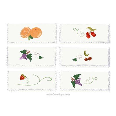 Assortiment de 6 pochettes serviette Les fruits à broder en broderie traditionnelle - Avila