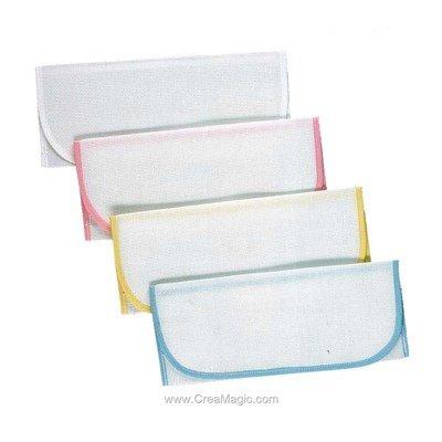 Lot de 4 pochettes serviettes Blanc - Jaune - Bleu - Rose à broder au point de croix - Luc Création