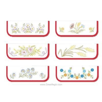 Lot de 6 Pochettes Serviettes Fleurs A à broder en broderie traditionnelle - Luc Création