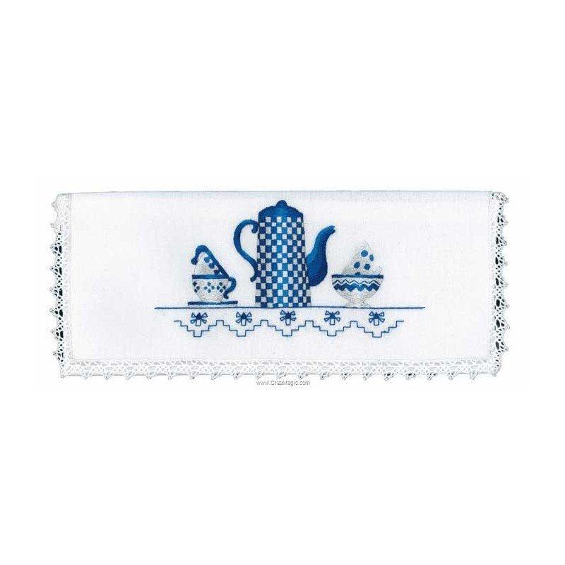 Broderie kit pochette serviette cafeti re bleue broder de avila 6371 01 - Pochette serviette de table ...