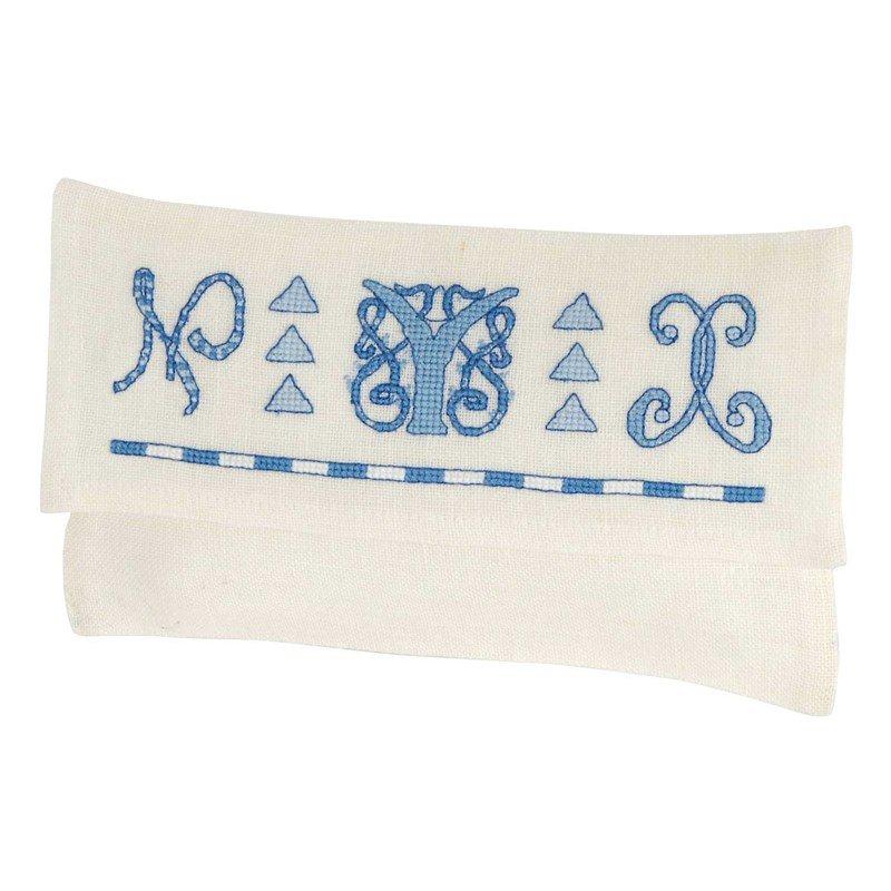 Broderie pochette serviette belles lettres en broderie au point de croix de dmc rk354 - Pochette serviette de table ...