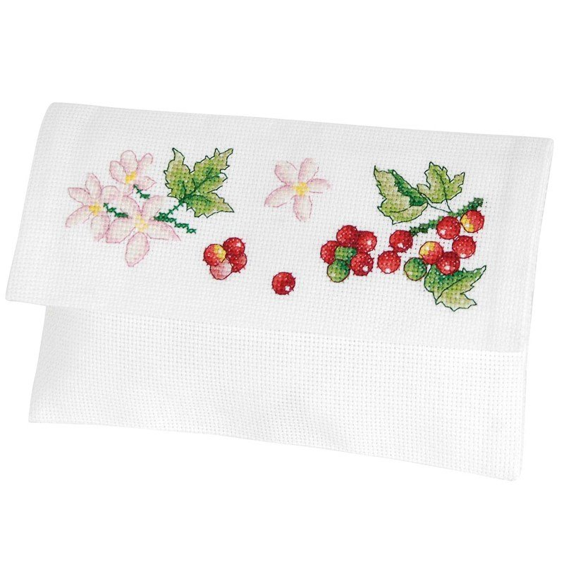 Broderie pochette serviette groseilles et fleurs en broderie au point de croix de dmc rk351 - Pochette serviette de table ...