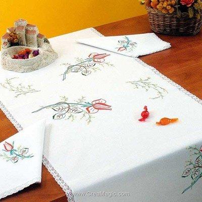 Vis à vis Boutons de rose Avec 2 serviettes assorties à broder en broderie traditionnelle - Luc Création