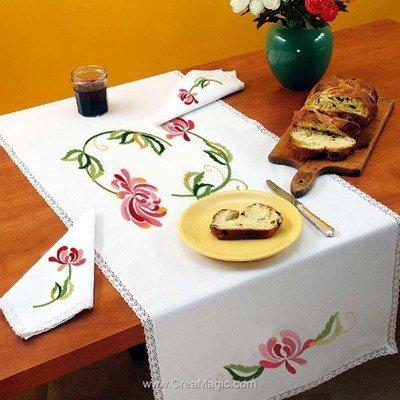 Vis à vis Harmonie Avec 2 serviettes assorties à broder en broderie traditionnelle - Luc Création
