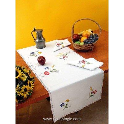 Vis à vis Laure Avec 2 serviettes assorties à broder en broderie traditionnelle - Luc Création