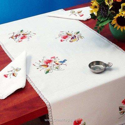 Vis à vis Les oiseaux Avec 2 serviettes assorties à broder en broderie traditionnelle - Luc Création