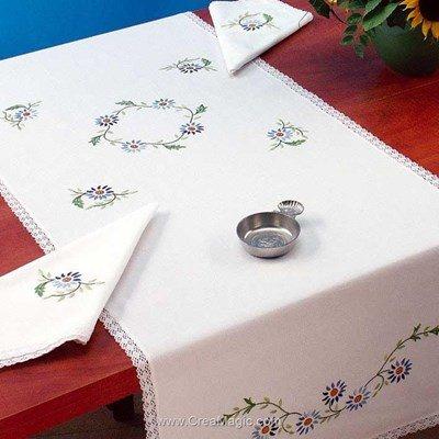 Vis à vis Ronde fleuri Avec 2 serviettes assorties à broder en broderie traditionnelle - Luc Création