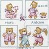 Broderie traditionnelle tableau naissance oursons de Princesse - Princesse