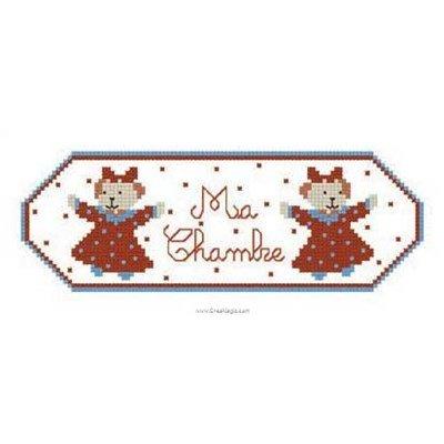 Panneau de Porte Ma chambre fille - Broderie Et Traditions