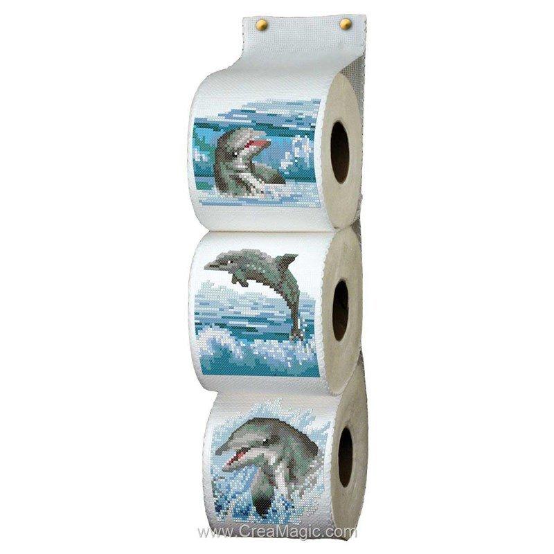 papier toilette dauphins  RPT107  Supports à broder  Range papier