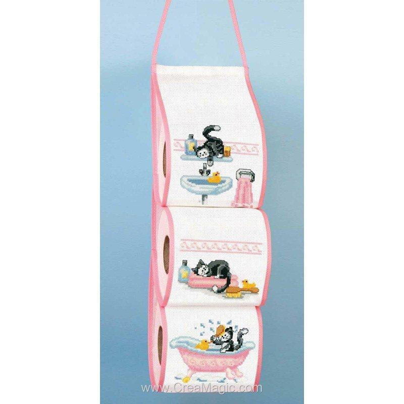 range papier toilette chat dans la salle de bain 2320 13110 supports broder range papier. Black Bedroom Furniture Sets. Home Design Ideas