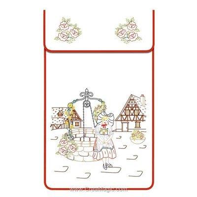 Cache torchon L'alsacienne sur toile coton blanc à broder en broderie traditionnelle - Luc Création