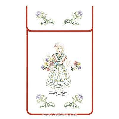 Cache torchon La lorraine sur toile coton blanc à broder en broderie traditionnelle - Luc Création