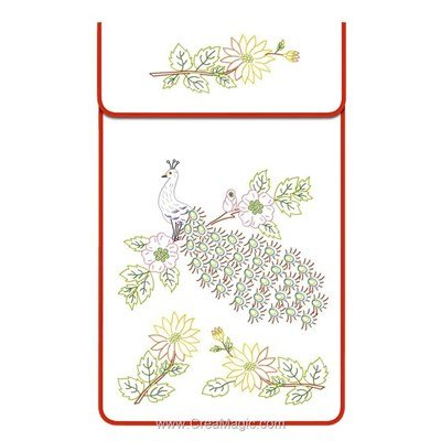 Cache torchon Le paon sur toile coton blanc à broder en broderie traditionnelle - Luc Création