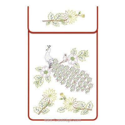 Cache torchon Le paon sur toile coton ecru à broder en broderie traditionnelle - Luc Création