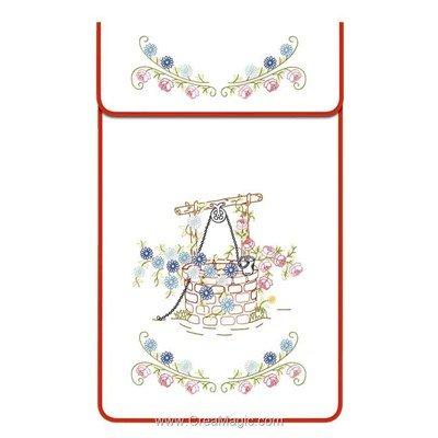Cache torchon Le puits sur toile coton blanc à broder en broderie traditionnelle - Luc Création