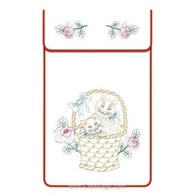 Cache torchon Les chats sur toile coton blanc à broder en broderie traditionnelle - Luc Création