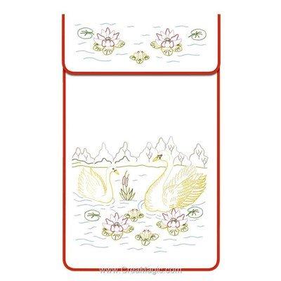 Cache torchon Les cygnes sur toile coton blanc à broder en broderie traditionnelle - Luc Création
