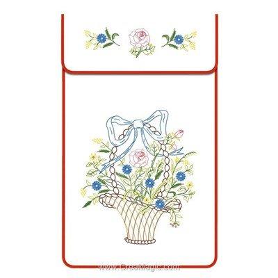 Cache torchon Panier Pt d'araignée sur toile coton blanc à broder en broderie traditionnelle - Luc Création